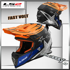 CASCO CROSS ENDURO MOTARD  LS2 MX437 FAST CORE TAGLIA M NERO ARANCIO BLU