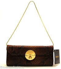 MIMCO OFFBEAT LEATHER CLUTCH IN COGNAC BNWT RRP$279 EVEN BAG