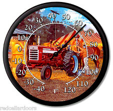 """New FARMALL 460 Tractor Thermometer 10"""" Round Dave Barnhouse HORSEPOWER in C/F"""