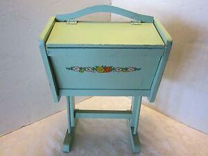 "Vtg Folk Art Wood child's flip top sewing box stand w/ handle handmade 16 ½"" T"