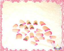 Starsire Pretty 3D Rhinestone Pink Acrylic French Nails