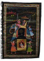 Parete Pittura Mughal Su Seta Arte Scena Di Vita India 71x48cm 33