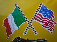 CROSSED irlandese & AMERICAN FLAG Auto Adesivo 100mm USA AMERICA Irlanda CASCO BICI