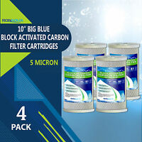 """4 pcs Big Blue CTO Carbon Block Water Filters 4.5"""" x 10"""" Whole House Cartridges"""