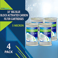 "4 pcs Big Blue CTO Carbon Block Water Filters 4.5"" x 10"" Whole House Cartridges"