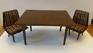 Vintg 1958 Mattel Barbie Doll Mid Century Modern Dining Table & Chairs Furniture