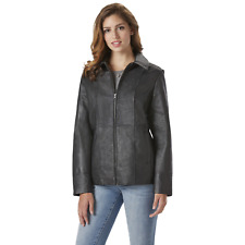 Women's Outdoor Spirit Plus Leather Jacket Black 3XL #NKXEL-1247