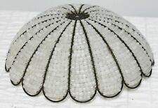 Glass White Beaded Lamp Shade Metal Frame Scallop Edging