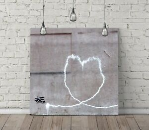 BANKSY AIRPLANE HEART SQUARE CANVAS WALL ART FLOAT EFFECT/FRAME/POSTER PRINT