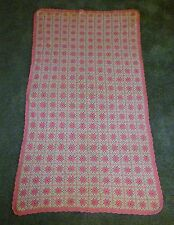 Pink & Ivory Granny Squares AFGHAN Handmade Knit Blanket Throw