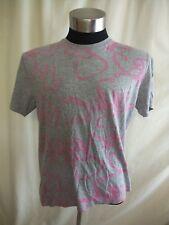 "Mens T-Shirt Topman size XL, 44-46"", grey cotton blend, pink graphics front 1614"