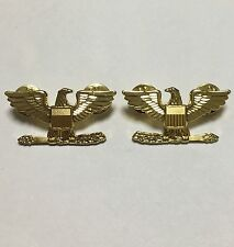 PAIR OF WWII US ARMY COLONEL EAGLE WAR BIRD DEVICE PIN GOLD BADGE INSIGNIA -1413