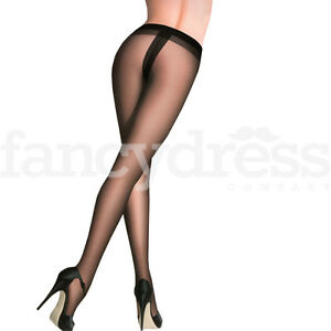 Black Nude Thong Effect Tights 20 Den Tanga One Size Dance Fancy Dress Accessory