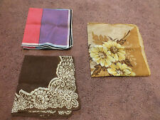 """Collectible Ladies Handkerchief Set 3 Bold Colorful Prints Patterns 12-15"""" NICE"""