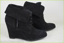 Boots Booties Wedge Heels ZARA Black Suede T 39 VERY GOOD CONDITION