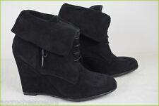 Boots Booties Wedge Heels ZARA Black Suede T 38 VERY GOOD CONDITION