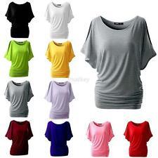 Women Batwing Dolman Sleeve Casual Loose Blouse Tops Cotton T-shirt Plus Size