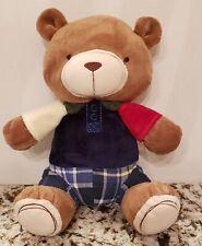 """KIDSLINE PLUSH TAN/BROWN BEAR BLUE SHIRT PLAID SHORTS TEDDY LOVEY 11"""""""