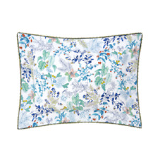 YVES DELORME FRANCE FLORA COTTON PERCALE PILLOW SHAM IN FLOWER & PLANT
