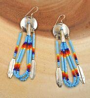 Navajo Sterling Silver Beaded Earrings Turquoise Dangle Shield Native American