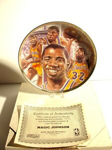 Sports Impressions LA Lakers Magic Johnson 8 1/2 Basketball Platinum Plate 1991