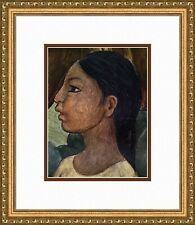 1958 Diego Rivera Antique Color Print Head of a Girl from SUGAR CANE Framed COA