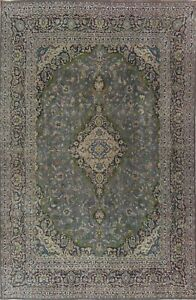 Overdyed Semi-Antique Floral Traditional Oriental Area Rug Handmade Wool 9x12 ft