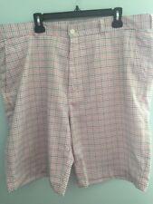 "Alan Flesser Men's 42"" X 10"" Plaid Golf Shorts Flat Front Polyester"
