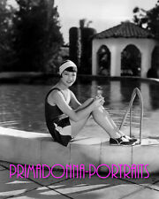 ANNA MAY WONG 8X10 Lab Photo B&W Sexy Poolside Glamour, Swimsuit Portrait