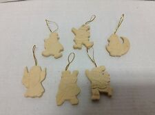 6 Unpainted Christmas Tree Santa Snowman Angel Candy Cane Decorations Ornaments