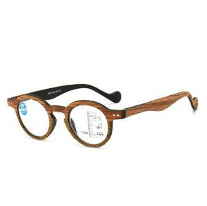 Retro Designer Multifocal Lesebrille Lesehilfe Progressive Holz-Optik 1,0-3,5