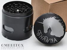 Sparkle Unicorn Personalized Name Black 4 Layer Herb Grinder Glass Windows