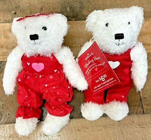 "Hallmark Blushing Bears Magnetic Kissing Plush 9"" Holding Hands Valentine's Day"