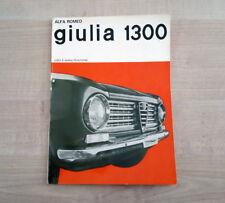 Alfa Romeo Giulia 1300 Libretto Manuale Uso e Manutenzione 1964 Italiano