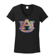 Women's Auburn Tigers Rhinestone  V-neck T-Shirt Tee Bling Lady