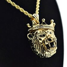 "3D Crown Lion Chain Hip Hop King Gold Finish Chunky Pendant 24"" In Rope Necklace"