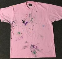 Vtg 90s FOTL Blank Distressed Paint Shirt L USA Single Stitch Faded Grunge Kanye
