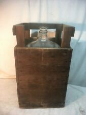 Vintage 5 Gallon Bison Lab.Blue Glass Water Acid  Jug  With Wood Crate Coin Bank