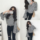 Women Black & White Striped Long Horn Sleeve Cotton T-shirt Casual Blouse Tops