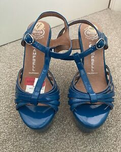 Jeffrey Campbell Blue Patent Wedges Size 5 - New