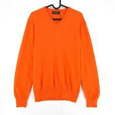 RRP €275 Daniel Cremieux Orange 100% Cashmere V Neck Jumper Pullover Size M