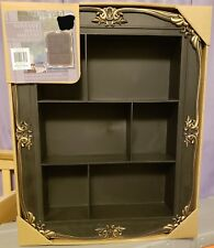 """TUSCAN* 15.7x19.7"""" WALL SHELVES Old World VINTAGE STYLE Plastic BLACK Faux Wood"""
