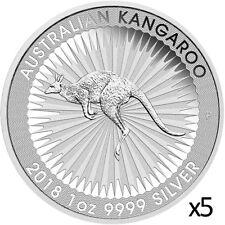 5 x 1 oz 2018 Silver Kangaroo Coin - .9999 Silver Coin - Australian Mint