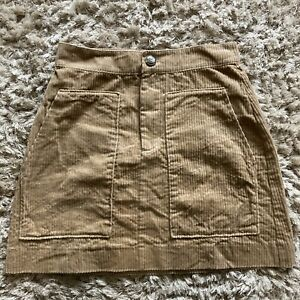 H&M Beige Corduroy Cord Mini Skirt Size 10