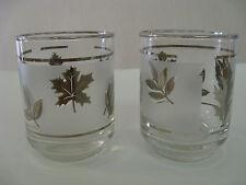 Vintage Pair of Frosted~ Libbey ~ Platinum Leaf Shot Glasses 4oz Juice glasses