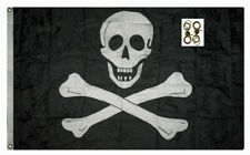 2x3 Embroidered Jolly Roger Edward England Pirate 300D Nylon 2ply Flag 2 clips