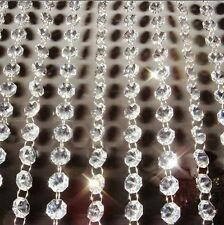 100M14mm Octagon Acrylic Crystal Glass Garland Strand Beads Event Party Pendants