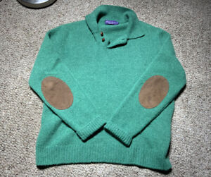 VINTAGE RALPH LAUREN PURPLE LABEL MENS GREEN CASHMERE WOOL ELBOW PATCH SWEATER L