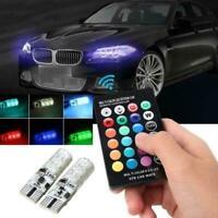 2X T10 RGB 5050 6SMD LED Car Wedge Side Light Strobe Bulb Control Lamp & Re O1D0