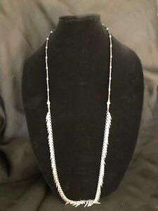 """Jenny Bird Long Fringe Silver Black 40"""" Necklace"""